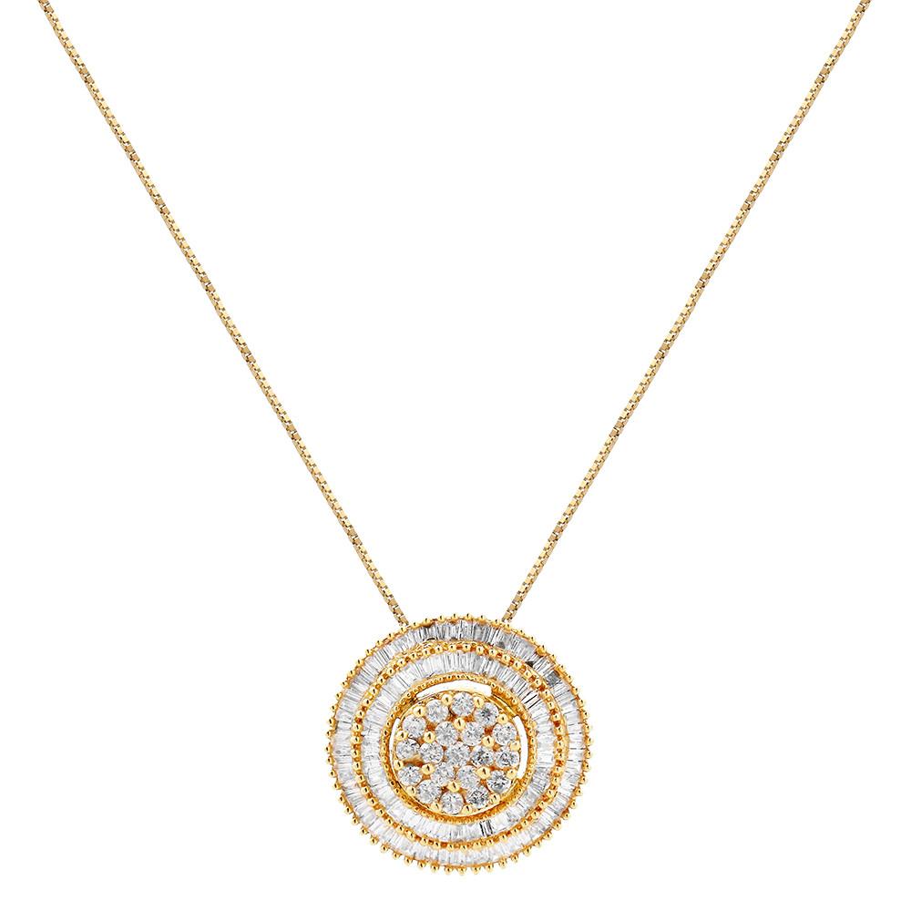 Colar Ouro de Diamantes Baguete Grande
