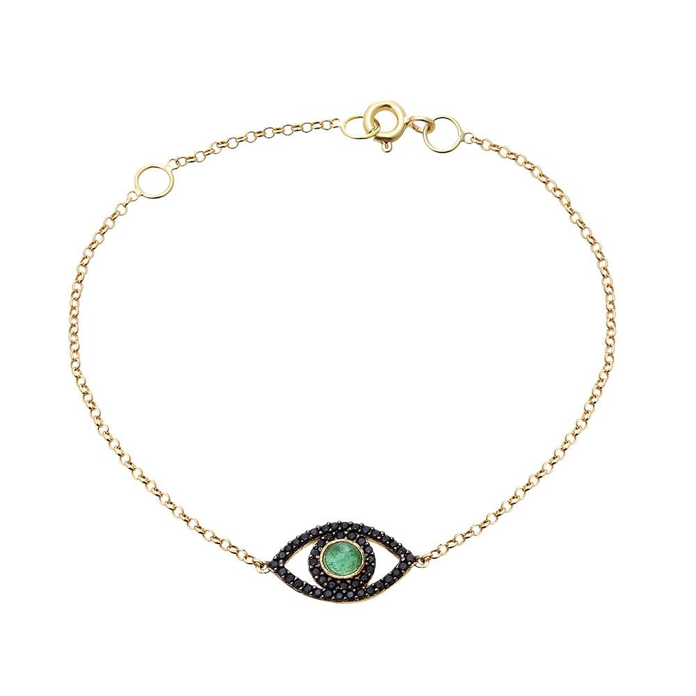 Pulseira Olho Grego ouro Esmeralda com Safiras Negras