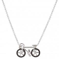Colar Bicicleta Ouro Branco Safiras Negras com brilhantes