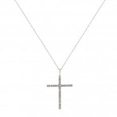 Colar Crucifixo Ouro Branco com brilhantes