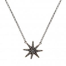 Colar Estrela Ouro branco ródio negro com brilhantes