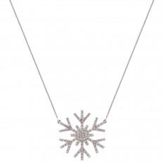 Colar Snowflake grande ouro branco com brilhantes