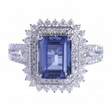 Anel Safira Azul com brilhantes